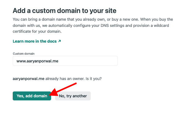 Click yes add domain